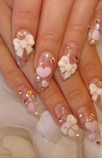 Trendy 3d nail design ideas finally heres another very cute pink nail design using some very cute flowers and some other decorations to really create stunning looking 3d nail designs prinsesfo Images