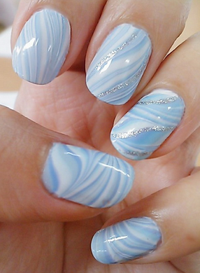 Blue nail design ideas if you prefer to use a lighter shade of blue then this will probably some nail design you love as it uses very light blue and some white patterns and some prinsesfo Image collections