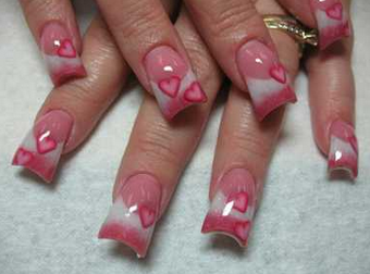 Pink nail art design ideas here you can see another very popular pink art nail design using some cute little hearts in dark pink color the core of the nail is light pink and then prinsesfo Images