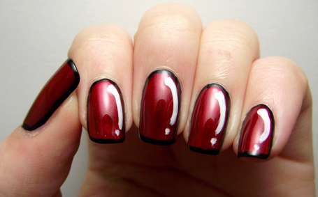 Red nail design ideas here you can see some really nice dark red nail design using black edges to create a very unique look and some really amazing white decoration to create a prinsesfo Gallery